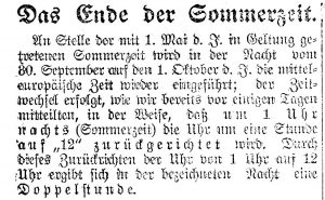 """The End of Sommerzeit."" Headline from the Innsbrucker Nachrichten"